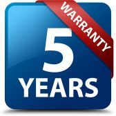5 years warranty glossy blue square button